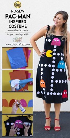 Go retro this year with a PAC-MAN® inspired costume with no sewing needed. Holly from Club Crafted shows you how to become part of your childhood favorite video game using Aleene's® Super Fabric Adhesive and felt on a simple black dress. Food Halloween Costumes, Halloween Boo, Halloween Activities, Holidays Halloween, Diy Costumes, Halloween Pumpkins, Food Costumes For Kids, Creative Costumes, Halloween Ideas