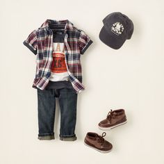 ean-ius  every boy needs some stylin' jeans and these dark wash classics will be your favorites! we add a vibrant plaid woven shirt with our striped sporty tee undeneath for one adorable outfit that is perfect for your stylin' boy.