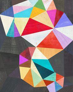 illustration géométrique abstraite US : triangles, multicolore, Twoems, Melanie Mikecz