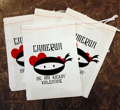Boys Ninja Favor Bags - Kids School Party Gift / Boys Valentines Card Replacement / Valentine Gift Holder / Teacher Candy / White Muslin 5x7 by ScrapendipityBags