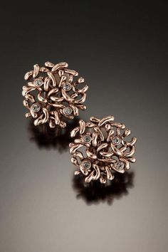 "Robin Steele,  Rose Gold ""JAX"" button earring with scattered crystals"