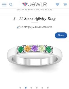 Birthstone for each child. Stacked with wedding rings. Blending families.