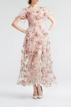 Yigelila Shallow Pink Floral See Through Lace Maxi Dress | Maxi Dresses at DEZZAL