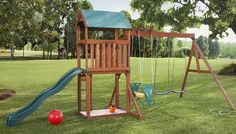 Depending on the store's layout, you will find the play set kits at one of several possible locations — outdoors in the garden center or indoors in the lumber and building materials section. Description from lowes.com. I searched for this on bing.com/images