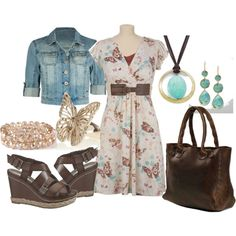 Lunch date: Jean jacket over pattern dress with lots of accessories.