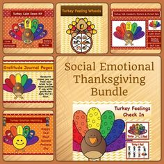 This bundle includes the following products:- Turkey Feather Emotion Match- Turkey Feelings Check In - Fall Emotion Wheel- Turkey Talk- Gratitude Journal Pages- Turkey Calm Down KitRelated Products Gratitude Journal: Thanksgiving Matching Emotions Turkey Activity Social Emotional Mega Bundle Thanksgiving Feeling Wheel Turkey Talk for Teens & Adults: Positive Thinking, Calm Down & Self Care Skills Calm Down Turkey Kit Feeling Check In: Thanksgiving Turkey