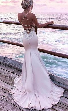sexy mermaid long prom dress, 2018 prom dress, gorgeous straps pink mermaid long evening dress