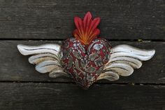 Carved Wooden Heart & Silver Wings Milagros Folk Art Michoacán Mexico LOVE TOKEN
