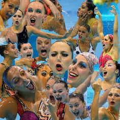 synchronized swimming faces