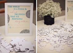 This idea was used recently at a New Year's Eve Wedding for Jade and Kevin. They had white puzzle pieces that you could write advice, your blessing, etc.  The puzzle can than be put together and framed and hung in your home. This is a great idea and it's a piece of art on your wall with love from friends and family showcased.