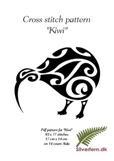 Maori style kiwi pattern, very easy to make into a beautiful pillow, framed artwork or maybe even as part of a quilt. Maori Patterns, Cross Stitch Patterns, Quilt Patterns, Maori Tattoo Designs, Maori Tattoos, Fern Tattoo, New Zealand Tattoo, Kiwi Bird, Fabric Coasters
