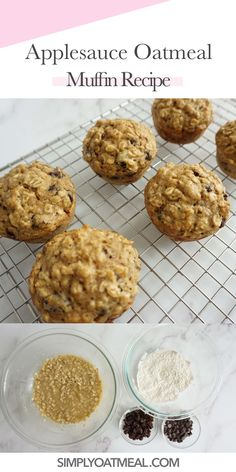 Applesauce oatmeal muffins that are super tasty and easy to make. Prepare the batter in 10 minutes and bake homemade muffins that you are guaranteed to fall in love with! Oatmeal Raisin Muffins, Oatmeal Applesauce Cookies, Baking With Applesauce, Healthy Oatmeal Cookies, Healthy Muffins, Muffin Recipes, Baby Food Recipes, Snack Recipes, Yummy Recipes