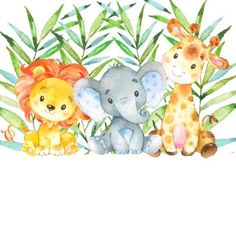Baby Shower Fall, Baby Shower Favors, Safari Animals, Baby Animals, Deco Jungle, Baby Clip Art, Baby Shower Decorations For Boys, Safari Party, Baby Scrapbook
