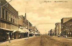 Blackwell Oklahoma OK 1908 Town Main Street Albertype Antique Vintage Postcard Blackwell Oklahoma OK Circa 1908 Downtown on Main Street with O.K. Barber Shop on left. Unused Albertype antique vintage