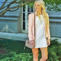 Little white dress and blush pink leather coat - Gucci bag - summer spring fashion