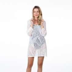 61ab257ada Dotti Swimwear Cover Up Women s Lady Lace Hodded Tunic. White lady lace cover  up.
