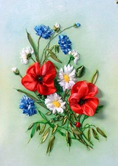 Corn flowers, daisies and poppies #ribbonEmbroidery