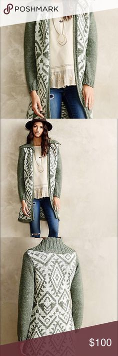 "Moth walden stitch sweater cost fairisle mohair Beautiful Anthropologie moth SweaterCoat. Green and white mix in a pretty stitch print. 60% acrylic 30% mohair 10% wool. Bust across 20"" and length is 34"" Anthropologie Sweaters"