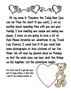 Take Home Teddy Letter for Teddy's Notebook. All graphics