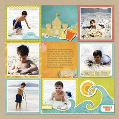 Love the block format and popped elements. I like the simple framing of the photos on the paper squares. LO by