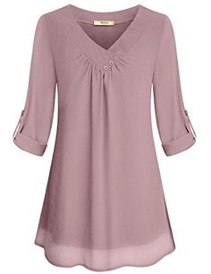 Miusey Ladies Chiffon Blouses, Juniors Summer Casual V Neck Cuffed Sleeve Pleated Curved Hem Office Flattering Flowy Shirts for Leggings Lightweight Tunic Tops Pink M - BigSale Online Shopping USAMiusey Tunic Blouses Women Ladies Elegant V Neck Chiff Shirt Bluse, Tunic Blouse, Blouse Styles, Blouse Designs, Tunic Tops For Leggings, Knit Leggings, Plus Size Clothing Online, Trendy Clothing, Layered Fashion