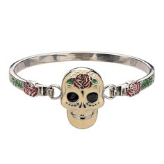 Women's Stainless Steel Day of the Dead Enamel #Skull #Bangle #Bracelet. #Inox #jewelry #womensjewelry #stainlesssteel #dayofthedead #edgy