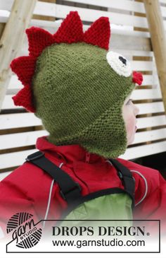 "Knitted DROPS dragon hat with ear flaps in ""Alaska"". Size 3-12 years ~ DROPS Design"