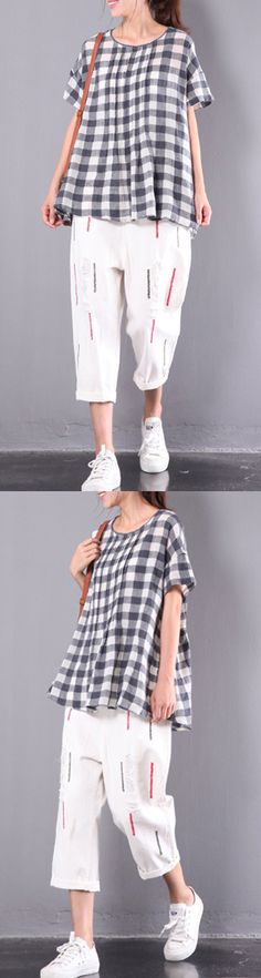 plaid cotton blouse oversize casual tops wrinkled t shirt