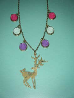 Woodland deer with raspberry light blue and purple by indieodyssey, $10.00