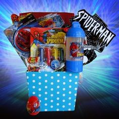 Easter Gift Baskets for Boys - Spiderman ~~ #easter #spiderman #giftbaskets  ~~