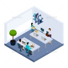 Coworking People Environment Office Isometric by macrovector Coworking employees sharing working space sitting in modern business office together isometric banner design abstract vector illus