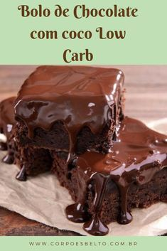 Recipes Paleo Dessert Low Carb New Ideas Bolo Chocolate Low Carb, Vegan Chocolate, Chocolate Recipes, Chocolate Cakes, Low Carb Protein Bars, Low Carb Keto, Low Carb Desserts, Easy Desserts, Paleo Dessert