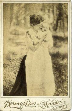 ca. 1890, [cabinet card, outdoor portrait of Lilla Denno Kenney holding Hazel May Kenney], Kenney Brothers Art Studio via Harvard University...
