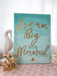 Mermaid Canvas Art 1114 canvas Aqua and Gold Nursery Wall Decor Dream big little mermaid Beach cottage Wall Decor Aqua Teal ombre Mermaid Canvas, Baby Mermaid, The Little Mermaid, Mermaid Beach, Mermaid Sign, Little Mermaid Nursery, Mermaid Nursery Theme, Mermaid Room Decor, Mermaid Birthday