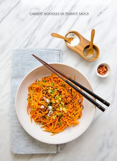 carrot noodles in spicy peanut sauce