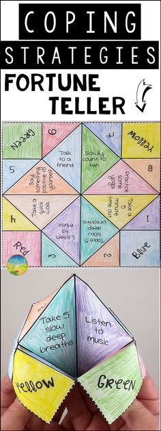 Use this paper fortune teller craft to teach and practice coping strategies for anxiety, anger, stress, depression, and other strong emotions - repinned by @PediaStaff – Please Visit ht.ly/63sNt for all our pediatric therapy pins.