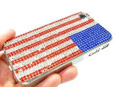 Bling Crystal US Flag Metal iphone 4 Case,