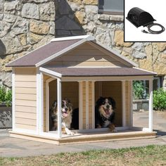 Antique Large Dog House W Roof Solid Wood Penthouse Kennels Crates Duplex W Balcony & Ez Entrance for Two Dogs. For Outdoor Dog Bed Has a Raised Bottom and Natural Insulation.