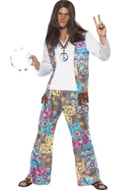 Shop now to get this Groovy Hippie Mens Fancy Dress Costume the perfect fancy dress outfit for the next throwback costume party. Get ready for the summer of love and turn up in true style with this Groovy Hippie. 1960s Fancy Dress, Hippie Fancy Dress Costume, Hippy Fancy Dress, Halloween Fancy Dress, Adult Halloween, Costume Halloween, Disco Costume, 70s Costume, Costume Parties
