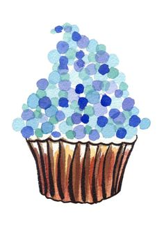 set of 4 cupcakes - watercolor blue
