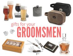 personalized gifts for your groomsmen from Things Remembered // pocket knife, watchbox, cuff links, overnight bag, beer tasting kit, flask, decanter