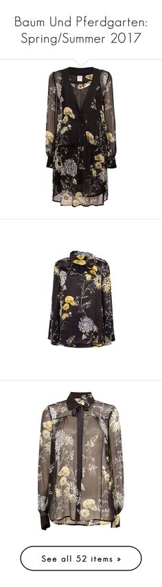 """Baum Und Pferdgarten: Spring/Summer 2017"" by livnd ❤ liked on Polyvore featuring baumundpferdgarten, springsummer2017, dresses, print, ruching dress, rouched dress, deep v neck dress, floral day dress, sheer floral dress and tops"