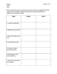 Printables Preterite Worksheet past tense ar verb preterite and imperfect sentence worksheet all spanish students could use practice on polishing their skills this paired activity comes with a workshee
