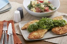 520 cals Pan-Fried Francese-Style Chicken with Arugula & Green Bean-Potato Salad