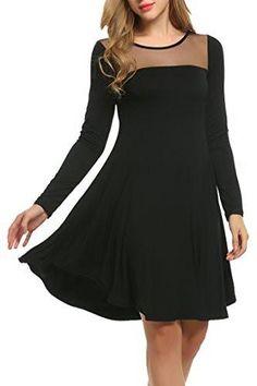 8dd6951ee1b6 Meaneor Women Sheer Mesh Tunic Swing Loose T-Shirt Dress