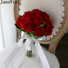 JaneVini 2018 Western Wedding Bouquet For Brides Flannel Red Bridal Bouquet Artificial Ribbon Rose Wedding Flower Bouquet Silk Red Flower Bouquet, Bridal Bouquet Blue, Spring Wedding Bouquets, Red Wedding Flowers, Blue Bridal, Rose Boquet, Spring Weddings, Wedding Dresses, Bridal Gowns