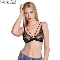 Wink Gal 2016 Summer Sexy Women's Black Lingerie Lace Up Sleepwear Bra Underwear Women Nightwear Bralette 2637