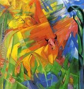 Animals In Landscape Aka Painting With Bulls  by Franz Marc