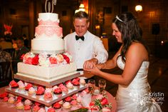 Lauren + Evan = Married! Love the different shades of coral for their cake by Simply Perfections Cake at Scottish Rite Cathedral. #Indy #Coral #Wedding #Cake