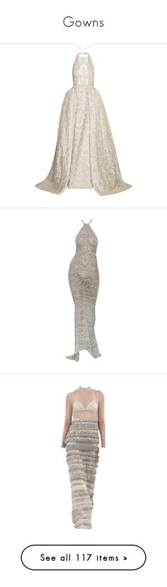 """""""Gowns"""" by julieselmer ❤ liked on Polyvore featuring dresses, gowns, white gown, white evening dresses, halter tops, halter dresses, white halter top, long dress, white dress and couture evening dresses"""